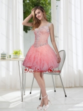 Fashionable Beading and Ruffles Watermelon Prom Dresses for 2015 SJQDDT29003FOR