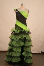 Fashionable Column One-shoulder Neck Floor-length Beading Prom Dresses Style FA-C-217