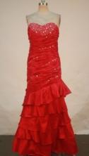 Fashionable Column Sweetheart-neck Floor-length Red Beading Prom Dresses Style FA-C-185