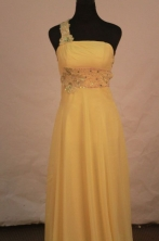 Fashionable Empire One-shoulder neck Floor-length Chiffon Yellow Prom Dresses L42407