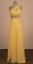Fashionable Empire One-shoulder neck Floor-length Yellow Beading Prom Dresses Style FA-C-159