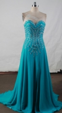 Fashionable Empire Sweetheart-neck Floor-length Teal Beading Prom Dresses Style FA-C-183
