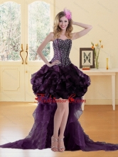 Fashionable High Low Burgundy Prom Dress with Ruffled Layers and Beading UNION19T06TZBFOR