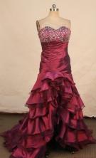 Fashionable High-low Sweetheart-neck Brush Burgundy Beading Prom Dresses Style FA-C-223