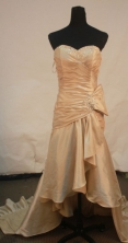 Fashionable High-low Sweetheart-neck Brush Champagne Beading Prom Dresses Style FA-C-186