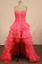 Fashionable High-low Sweetheart-neck Floor-length Organza Red Beading Prom Dresses Style FA-C-190