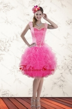 Fashionable Hot Pink 2015 Straps Prom Dresses with Beading and Ruffles XFNAOA46TZBFOR