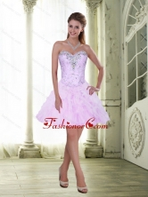 Fashionable Knee Length Beading and Ruffles 2015 Prom Dresses SJQDDT2003FOR