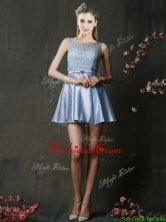 Fashionable Light Blue Short Prom Dress with Lace and Belt BMT0151AFOR