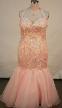 Fashionable Mermaid Halter top neck Floor-length Baby Pink Beading Prom Dresses Style FA-C-187