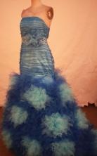 Fashionable Mermaid Strapless Floor-length Blue Beading Prom Dresses Style FA-C-238