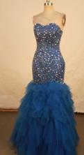 Fashionable Mermaid Sweetheart-neck Floor-length Blue Beading Prom Dresses Style FA-C-219