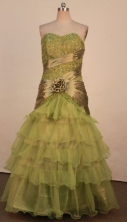Fashionable Mermaid Sweetheart-neck Floor-length Olive Green Beading Prom Dresses Style FA-C-163