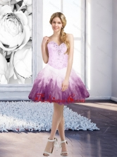 Fashionable Multi Color Short Prom Dresses with Beading and Ruffles for 2015 SJQDDT7003FOR