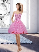 Fashionable Rose Pink Sweetheart 2015 Prom Dress with Beading and Ruffles QDDTA67003FOR