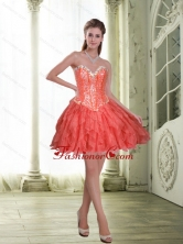 Fashionable Short Beading and Ruffles Coral Red Prom Dresses for 2015 SJQDDT23003-3FOR