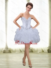 Fashionable Short Beading and Ruffles White 2015 Prom Dresses with Sweetheart SJQDDT16003-1FOR