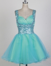 Fashionable Short Straps Mini-length Aqua Prom Dress LHJ42842