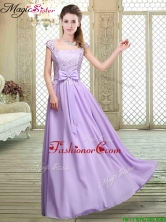 Fashionable Square Cap Sleeves Lavender Prom Dresses with Belt BMT066FFOR