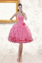 Fashionable Sweetheart Rose Pink 2015 Prom Dresses with Beading and Ruffles XFNAO142TZCFOR