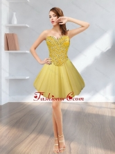 Fashionable Tulle Short Sweetheart Beading 2015 Gold Prom Dresses SJQDDT12003-4FOR