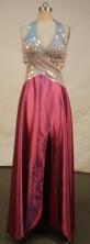 Fashionable empire halter top floor-length beading wine red prom dresses FA-X-132