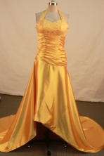 Fashionable empire halter top sweetheart-neck low-high beading orange prom dresses FA-X-111