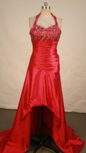 Fashionable empire halter top sweetheart-neck low-high beading red prom dresses FA-X-116