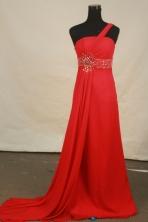 Fashionable empire one shoulder brush chiffon beading prom dresses FA-X-124