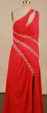 Fashionable empire one shoulder floor-length chiffon beading red prom dresses FA-X-134