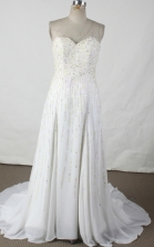 Fashionable empire sweetheart-neck brush chiffon beading white prom dresses FA-X-110