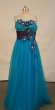 Fashionable empire sweetheart-neck floor-length blue appliques prom dresses FA-X-123