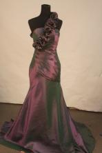 Fashionable mermaid one shoulder brush taffeta purple prom dresses FA-X-119