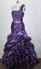 Gorgeous A-line One Shoulder Floor-length Eggplant Purple Prom Dress LHJ42879