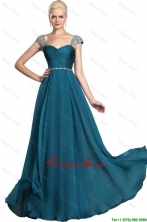 Gorgeous Beaded Teal Cap Sleeves Prom Dresses with Straps DBEE049FOR