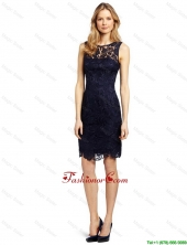 Gorgeous Column Bateau Laced Prom Dresses in Black for 2016 DBEE110FOR