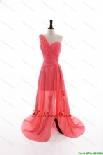 Gorgeous Column One Shoulder Watermelon Prom Dresses with Ruching DBEES164FOR