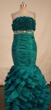 Gorgeous Mermaid Strapless Floor-length Green Beading Prom Dresses Style FA-C-235