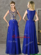 Gorgeous V Neck Appliques and Beading Prom Dress in Royal Blue BMT0139-2FOR