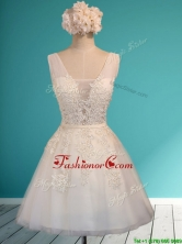 Gorgeous White Deep V Neckline Prom Dress with Appliques and Belt BMT0124BFOR