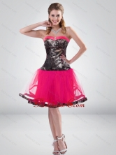 Fashionable Hot Pink A Line Strapless Camo Prom Dress with Beading for 2015 CMPD002FOR