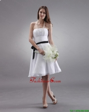Latest White Strapless Sashes Prom Gowns with Knee Length DBEE497FOR