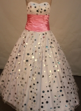 Lovely A-line sweetheart-neck floor-length sash with rose pink prom dresses FA-X121
