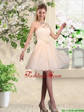 Lovely One Shoulder Prom Dresses with Hand Made Flowers BMT044AFOR