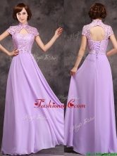 Low Price High Neck Cap Sleeves Lavender Long Prom Dress BMT0171CFOR