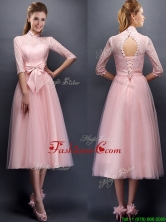 Luxurious Laced High Neck Half Sleeves Prom Dress with Bowknot  BMT097E-1FOR