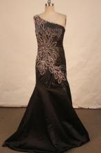 Luxurious Mermaid One-shoulder Neck Brush Beading Prom Dresses Style FA-C-126