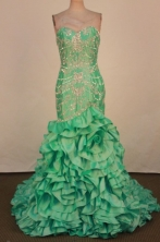 Luxurious Mermaid Sweetheart-neck Brush Green Appliques Prom Dresses Style FA-C-170