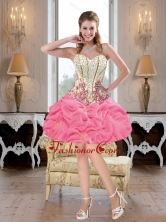 Luxurious Mini Length Beaded Rose Pink Prom Dresses with Pick UpsLuxurious Mini Length Beaded Rose Pink Prom Dresses with Pick Ups SJQDDT40003FOR