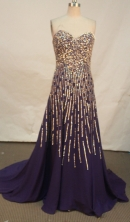 Luxurious empire sweetheart-neck beading purple prom dresses FA-X-128